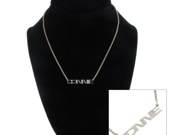 Connie Silver Tone Name Pendant Necklace Jewelry Vintage 1970s