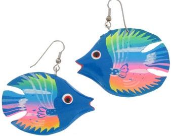 Blue Angel Fish Pierced Earrings Hand Painted Wood Neon Vintage 1980s