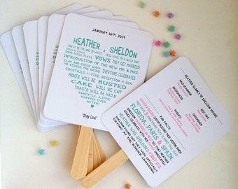 Sweetheart Wedding Ceremony Program Fan - Fully Customizable Wording & Ready-to-DIY Kit (QTY 30+)