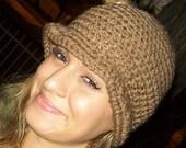 Light Brown Crochet Cloche Hat