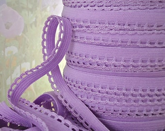 5yds Elastic Stretch lace Trim Edging 3/8 inch Purple Skinny Elastic with Scallops for Headbands Sewing lingerie Pantie Elastic by the yard