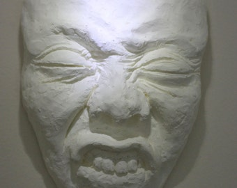 "Macabre Fine Art Face Sculpture, ""Hiding No. 48, Process Study"""