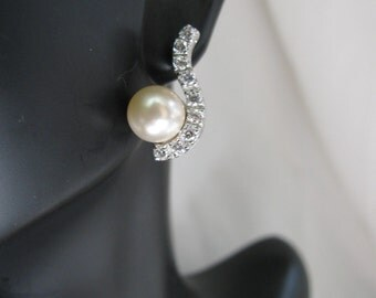 Solid 925 Cubic Zirconia Earrings with Feux Pearl/Bridal/Bridesmaids/Graduation/Birthday/Gift for her