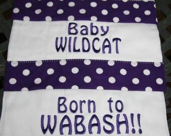 Set of 3 K-State Baby Burp Cloths - purple polka dot