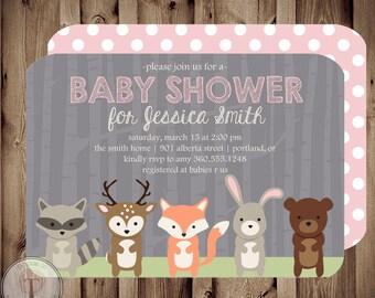 Forest Friends BABY Baby Shower Invitation, baby shower invite, animals, deer, bird, neutral, woodland animals, boy or girl