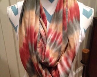 Tye dye scarf, hand dyed infinity scarf, rayon infinity scarf, terracotta, sage and chamois infinity scarf, circle scarf