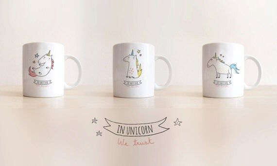 mug in unicorn we trust by sobigraphie on etsy