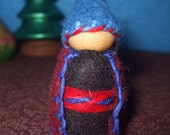 Blue and Black Gnome With Maroon Cape, Eco-Friendly, Waldorf Inspired,Wool and Wood Peg People, Dollhouse Doll, Nature Table
