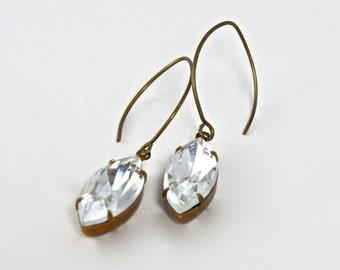 Vintage Navette Rhinestone Earrings, Crystal Clear Rhinestone Earrings, Affordable Bridal Jewelry