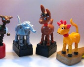 6 Vintage Toy Push - Up Puppets