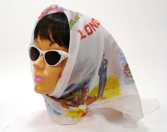 Vintage Ladies Travel Head Scarf Collectible Sites of LONDON Theme Scarf with Retro White Sunglasses