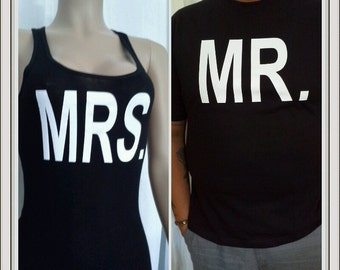 Mr. and Mrs. shirt package. his and her shirt set bride and groom shirt set. Bride and groom matching shirt set