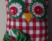 Christmas Owl-Christmas Gift-Owl Lovers Gift-Red Gingham Christmas-Plush Owl-Red and Green Christmas-