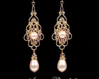 "Bridal earrings, wedding jewelry, White pearl and rhinestone earrings, Swarovski, gold, ""Princess"" earrings"