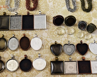 24 Creative Pendant Tray Kits - Pendant Trays - Bezel Settings - Photo Trays - Glass Cabochons - Rolo Link & Ball Chain