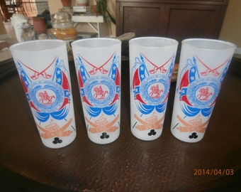 Vintage Set of Four  Frosted Glasses The Cival War Centennial 1861-1961 The Confederate States of America