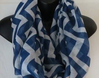 4 Colors To Choose From..Chevron Double Loop Infinity Scarf..Circle Scarf..Scarf..Lightweight..Coral, Mint, Blue, Black...Gift
