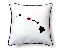 Hawaii Pillow - 18x18 - Hawaii Map - Personalized Name or Text Optional - Wedding - Housewarming Gifts