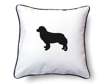 Bernese Mountain Dog Pillow 18x18 - Bernese Mountain Dog Silhouette Pillow - Personalized Name or Text Optional