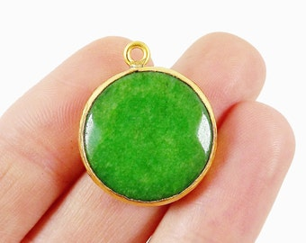 22mm Forest Green Faceted Jade Pendant - 22k Gold plated Bezel - 1pc -