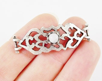 White Jade Stone Curved Fretwork Bracelet Focal Connector - Silver Plated - 1PC - SP135