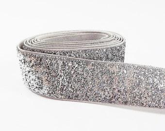 Silver 20mm (0.78 inch) Glitter Ribbon Metallic Velvet Trim Ribbon - 1 meter (1.09 Yards)