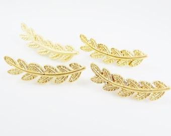 4 Laurel Branch Leaf Bead Charms - 22k Matte Gold Plated