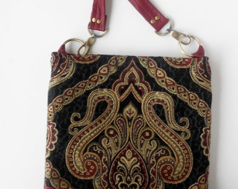 Shoulder bag in rich black tapestry with leather trim.   One of a kind, ready to ship.