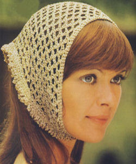 Knitted Head Scarf Pattern : CROCHET PATTERN Vintage Head Scarf Hair Net Head Wrap
