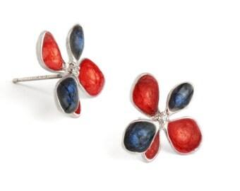 red silver earrings dark blue studs flower earrings floral jewelry enamel jewelry nature inspired statement artisan jewelry