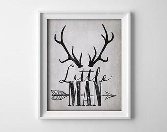 Rustic Nursery Art Print - Little Man - Deer Antlers - Nursery Wall Decor - Baby Shower Gift - Baby Boy Art - Buy One Get One - SKU:116