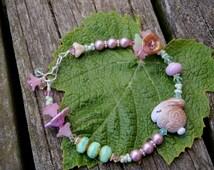 Sleepy Bunny Springtime Bracelet; art bead bracelet; spring bracelet; floral bracelet; pink and green bracelet; OOAK; SRAJD
