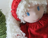 Christmas Waldorf Doll with ruby red dress, Santa Lucia Waldorf Doll, New Year Doll