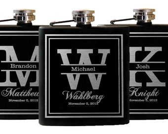 7 Personalized Groomsmen Gift, Engraved Flasks Personalized, Black Stainless Steel Flasks, Hip Flask - 7 Flasks