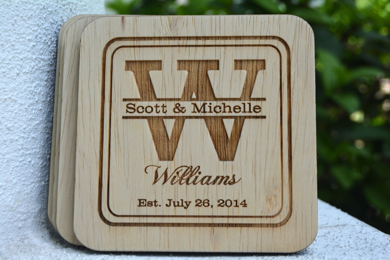 Wedding Gift Personalised: Personalized Coasters Wedding Favors Rustic Wedding