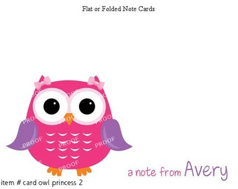 Girl Owl Pink Purple Princess Note Cards Set of 10 personalized flat or folded cards