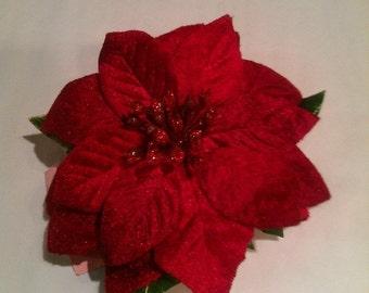 Velvet Christmas Red Hairclip