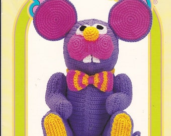 Crochet-Me YARNABLES ANIMAL Series Crochet Pattern only  - His Name SQUEAKY and he is a Mouse - Cute has ever