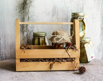 Build a Crate Florida Artisan Rustic Wooden Gift Crate Featuring your choice of Three 16 Ounce Handcrafted Pickles