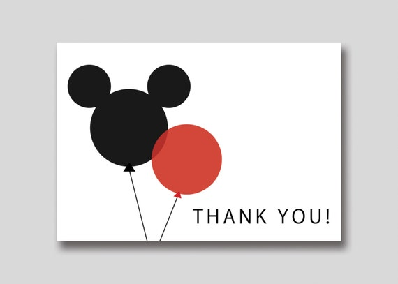 INSTANT DOWNLOAD Mickey Mouse Balloons Thank You Card - DIY Printable