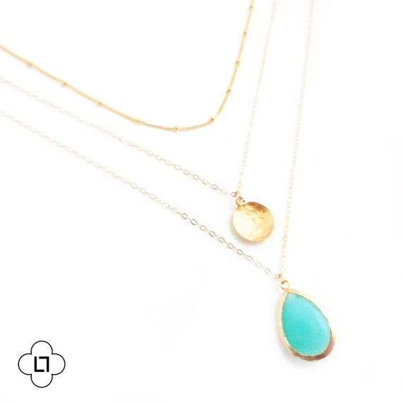 Gold Coin and Turquoise Layer Necklace