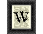 Letter W Modern Monogram on an 1897 Dictionary Page Art Print Monogram Wall Decor Mixed Media Collage Letter Art for Nursery Wedding Decor
