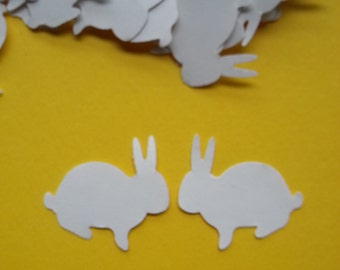 50 white bunny rabbits, Rabbit Die Cut, confetti, card making, party table scatter, scrap booking, crafting