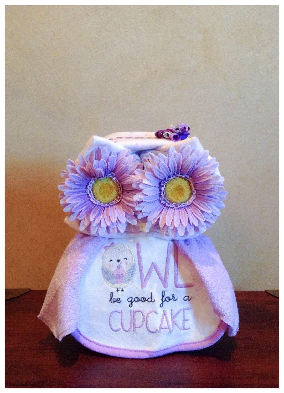 Purple Owl Diaper Cake Owl Baby Shower Diaper Animal Owl