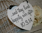 And they lived Happily Ever After Save the Date Sign Heart Signs Photography Props Enagement Pictures Wedding Dog Ring Bearer Flower Girl