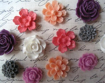 Pretty Fridge Magnets, 12 pc Flower Magnets, Mixed Color Magnets, Housewarming Gifts, Hostess Gifts, Wedding Favors
