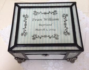 white stained glass Baptism/Christening memory keepsake box