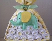 Green and Yellow Gender Neutral Stork Bundle, Diaper Cake, Baby Shower Gift, Welcome Baby Gift, Hospital Gift