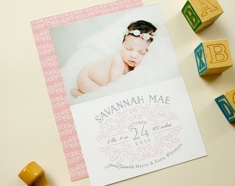 Baby Birth Announcement, Photo Card Announcement for Girl, Custom Birth Announcements for New Baby, Feminine Baby Photo Cards