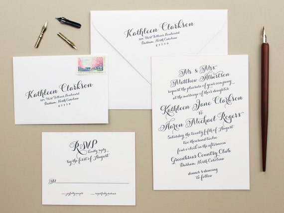Letterpress Printing Wedding Invitations: Navy Letterpress Invitation Pink Edge Painting Thick Paper